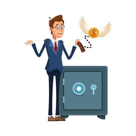 cartoon businessman with stock box and money coin with wings over white background, vector illustration Banque d'images - 140646047