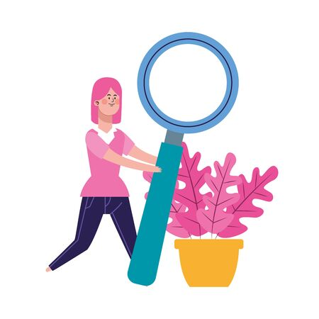 cartoon woman with big magnifying glass and plant over white background, colorful design, vector illustration