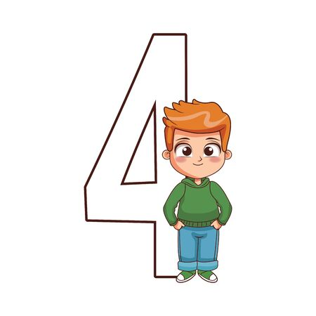 number four with cute boy standing over white background, flat design, vector illustration