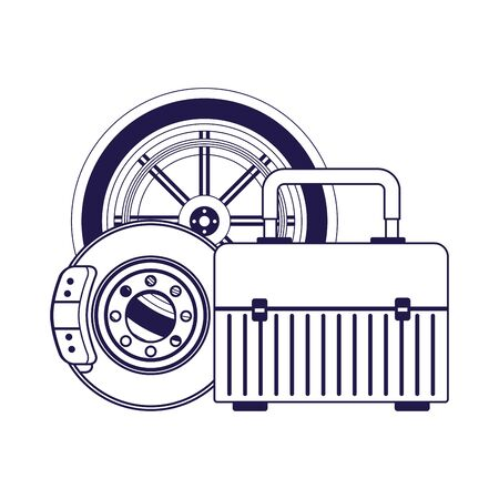 car tire with brake disc and tools box over white background, vector illustration
