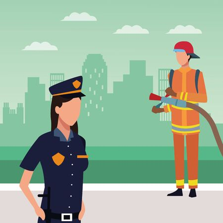 Avatar police woman and fireman standing over green background of urban city, colorful design, vector illustration Иллюстрация