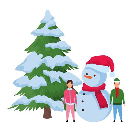 children with snowman and christmas tree vector illustration graphic design