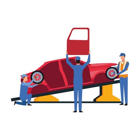 car repair design with mechanics working at car with the door and tires over white background, colorful design, vector illustration