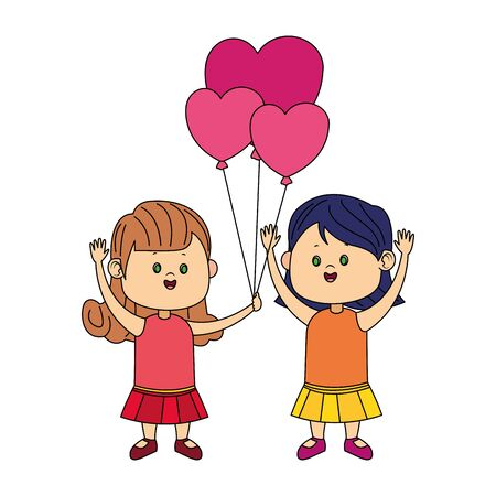 Cute girls with hearts balloons over white background, colorful design, vector illustration Stock Illustratie
