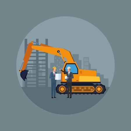 under construction scenery with excavator truck and engineers over gray background, colorful design, vector illustration Vettoriali