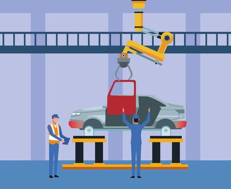 car workshop scenery with mechanics working on a car body, colorful design, vector illustration Ilustracja