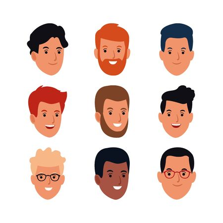 cartoon man faces icon set over white background, colorful design, vector illustration