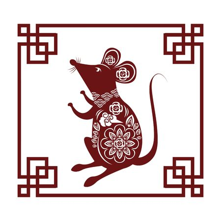 cute little mouse silhouette with frame vector illustration design
