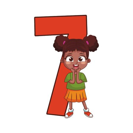 number seven with cartoon surprised girl over white background, colorful design, vector illustration Stock Illustratie
