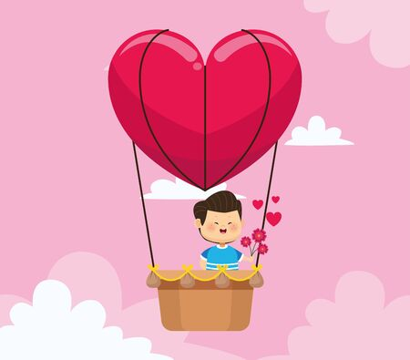 happy boy in heart air balloon over pink background, colorful design, vector illustration