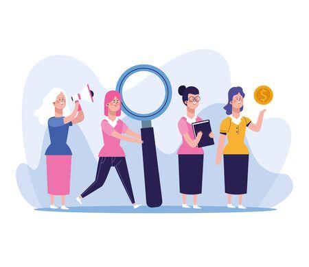 elegant business women group characters vector illustration design Ilustracja