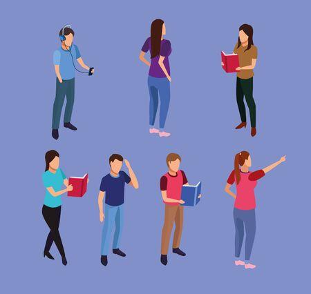 group of mini people reading books vector illustration design
