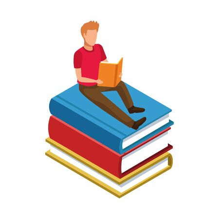 man reading a book sitting on books stack over white background, vector illustration