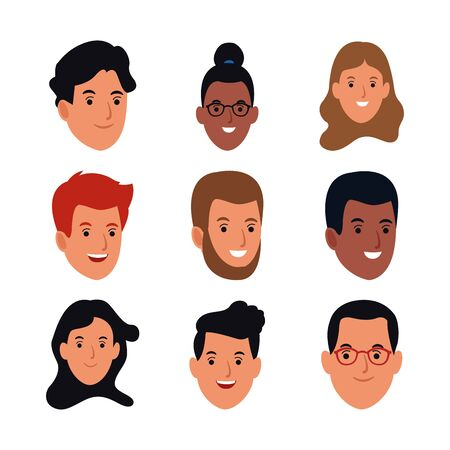 icon set of cartoon women and men faces over white background, colorful design, vector illustration Ilustracja