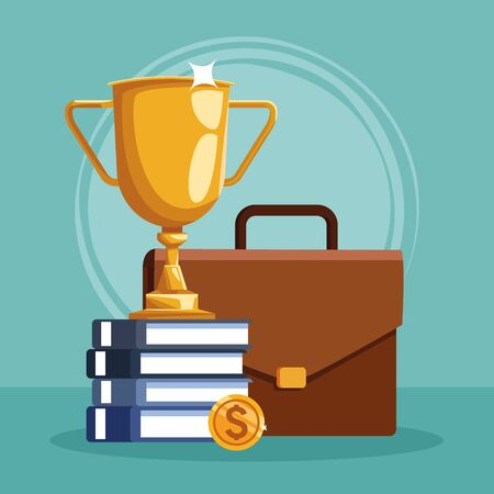 trophy cup with stack of books and business portfolio over blue background, colorful design, vector illustration Illustration