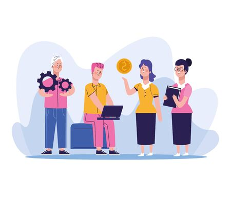elegant business people workers characters vector illustration design Ilustracja