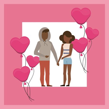 afro lovers couple with hearts balloons helium vector illustration design