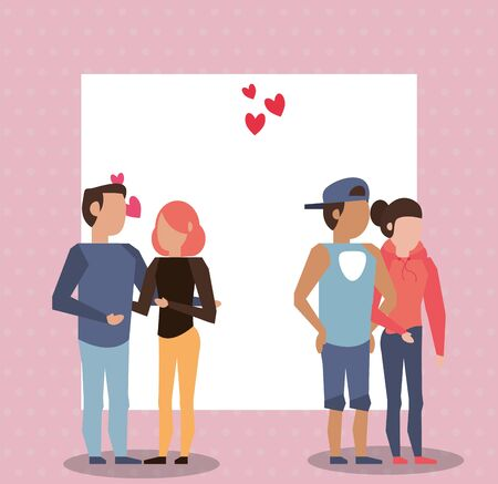 group of lovers couples characters vector illustration design Ilustrace