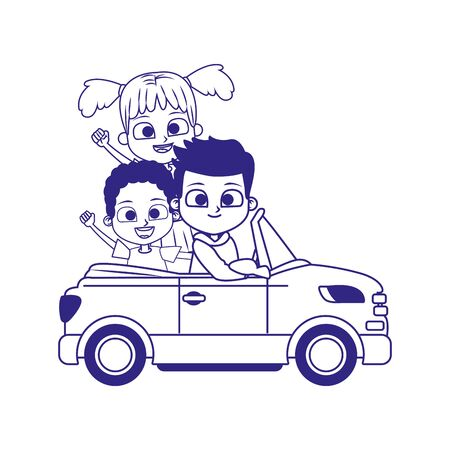 sport car with cute kids icon over white background, flat design, vector illustration Stock Illustratie