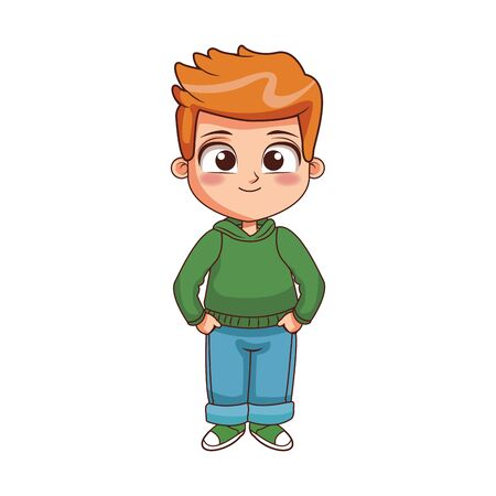cartoon boy standing icon over white background, colorful design, vector illustration