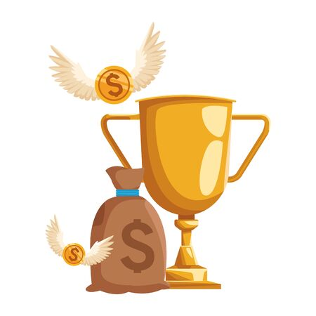 trophy cup with money bag and coins with wings over white background, colorful design, vector illustration Ilustracja