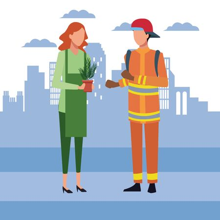 Avatar woman holding a plant pot and fireman standing over blue city urban background, colorful design, vector illustration
