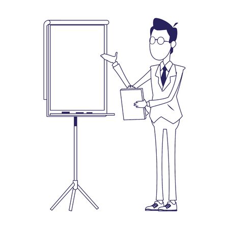 cartoon businessman with presentation board over white background, flat design, vector illustration
