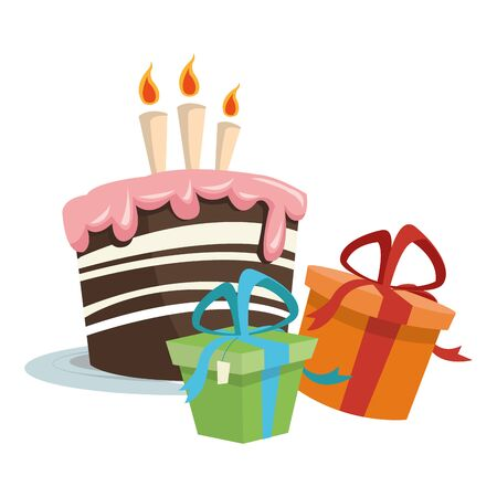 gift boxes and birthday cakes icon over white background, colorful design, vector illustration