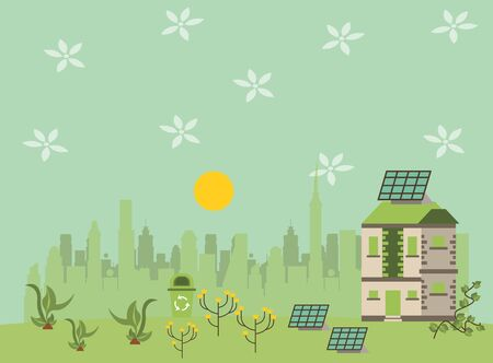 house with panel solar alternative energy vector illustration design