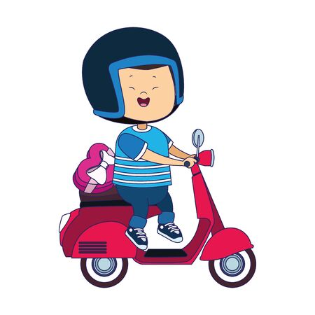 cartoon happy boy riding a classic motorcycle icon over white background, vector illustration