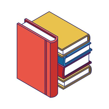 academic books stack icon over white background, vector illustration