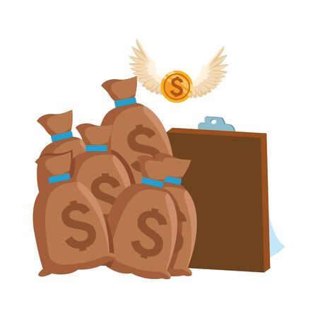 money bags and clipboard over white background, vector illustration Ilustracja