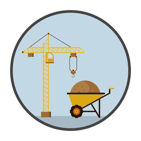 wheelbarrow tool equipment isolated icon vector illustration design