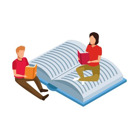 man and woman reading sitting on open book over white background, vector illustration
