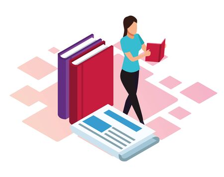 cartoon woman reading and newspaper over white background, isometric and colorful design, vector illustration