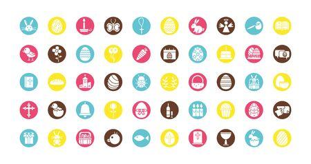 bundle of easter set block icons vector illustration design 向量圖像