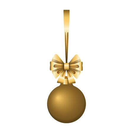 golden christmas ball icon over white background, colorful design, vector illustration