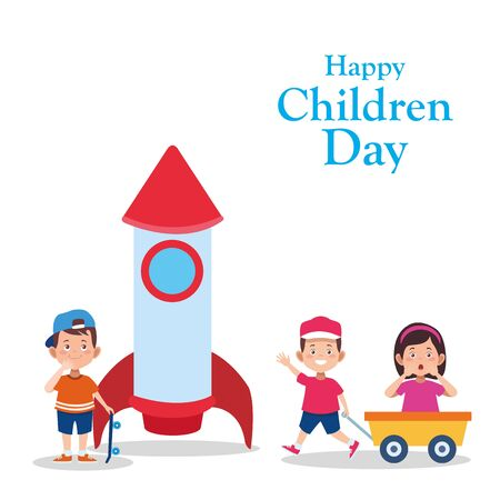 Happy children day design with cartoon kids and space rocket over white background, vector illustration
