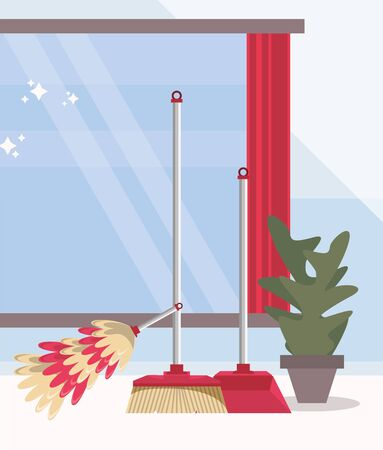 house room with housekeeping equipment vector illustration design