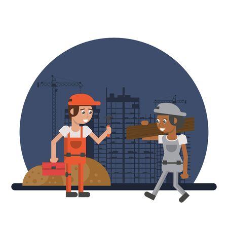 men builders working under construction scene vector illustration design