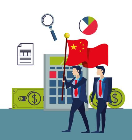 businessmen with flag China characters vector illustration design Иллюстрация