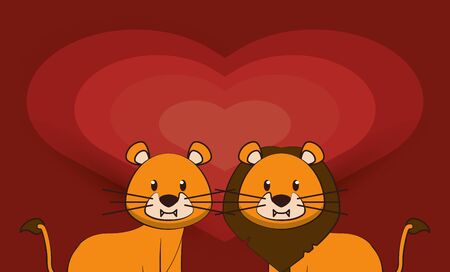 happy valentines day card with cute lions couple vector illustration design