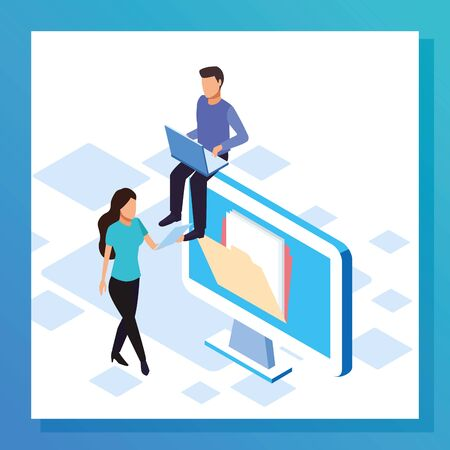 big data colorful design with computer with woman and man over white background, vector illustration