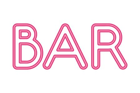 bar lettering neon lights label vector illustration design