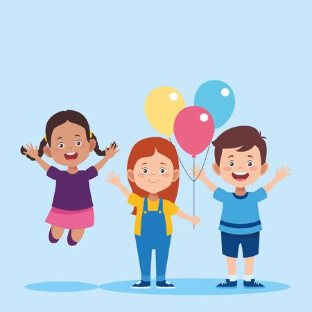 cartoon girls and boy with colorful balloons over blue background, vector illustration