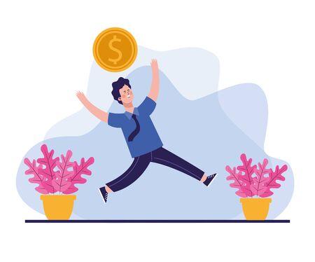 elegant businessman worker with coin money vector illustration design