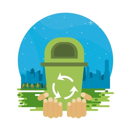 hands lifting waste bin with recycle arrows vector illustration design