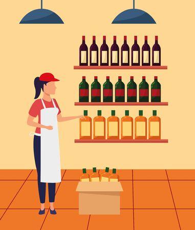 supermarket worker at stand with bottles, colorful design , vector illustration