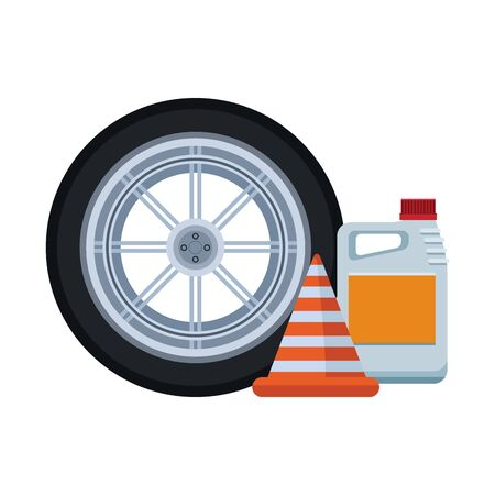 car tire with traffic cone and oil bottle over white background, colorful design, vector illustration Illustration
