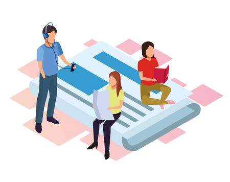 cartoon man listening music and women reading sitting on big newspaper over white background, isometric and colorful design, vector illustration